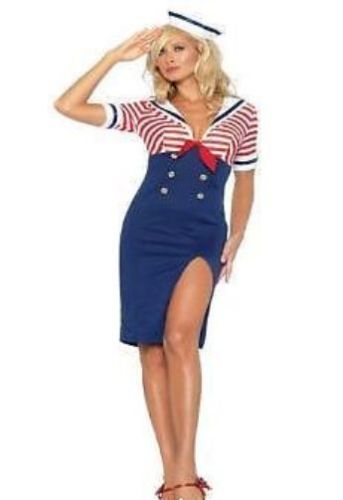 Navy Sailor Naval Fancy Dress Costumes Dance Outfit Womens Hen Clothes Wardrobe-0