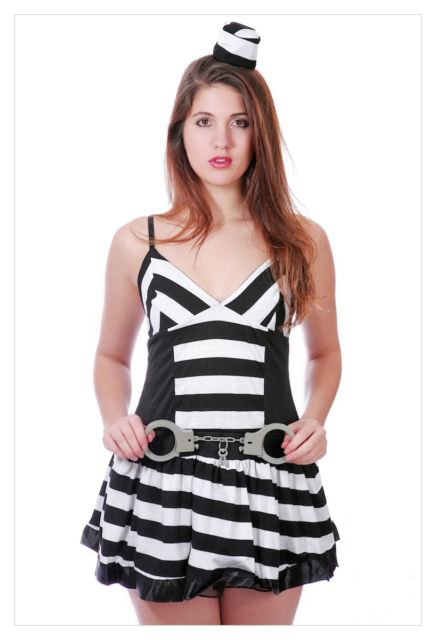 Prisoner Ladies Convict Fancy Dress Costume Cell Block Prisoner-0