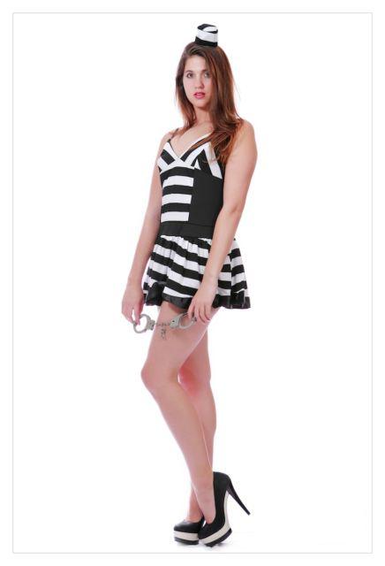Prisoner Ladies Convict Fancy Dress Costume Cell Block Prisoner-498