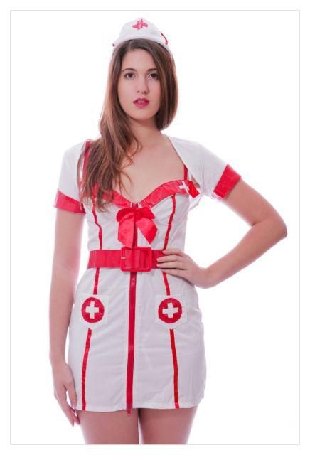 Adult Woman's Hospital Honey Sexy White Nurse Fancy Dress Costume-792