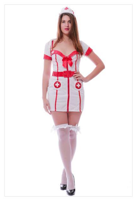 Adult Woman's Hospital Honey Sexy White Nurse Fancy Dress Costume-788