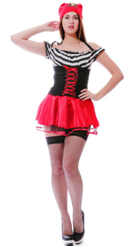Lady Girl Pirate Fancy Dress Costume Outfit + Hat