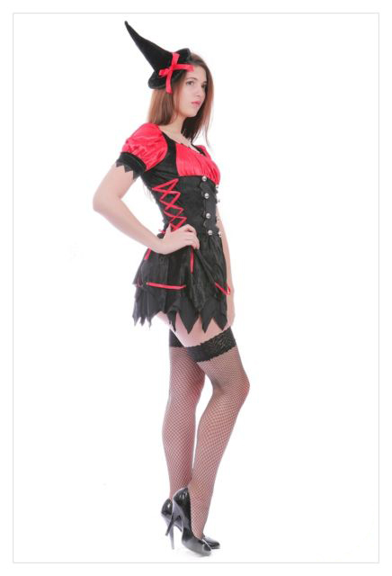 Mystical Spellbound Witches Halloween Fancy Dress Ladies Witch Costume Outfit-718