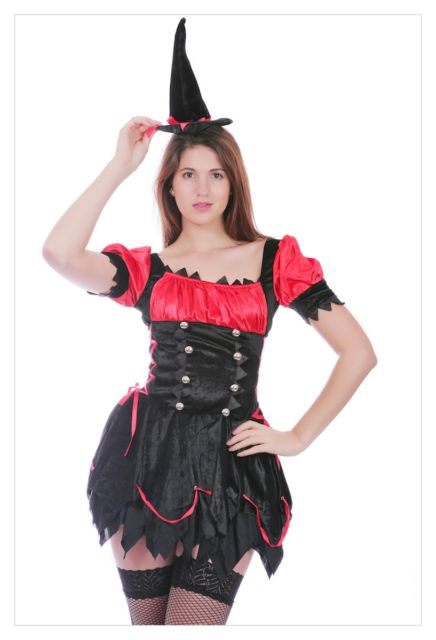 Mystical Spellbound Witches Halloween Fancy Dress Ladies Witch Costume Outfit-717