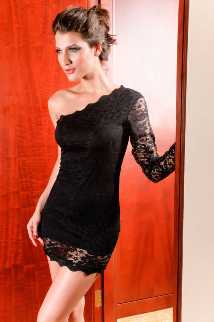 Catch Fashion One Sleeve Mini dress with Lace-0