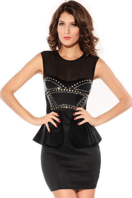 Front Rivets Adornment Peplum Dress-0
