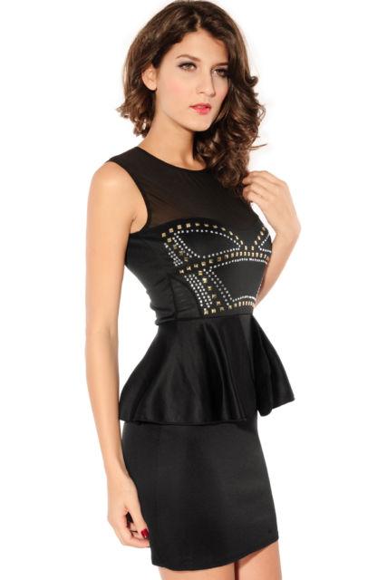 Front Rivets Adornment Peplum Dress-592