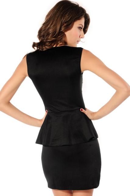 Front Rivets Adornment Peplum Dress-590
