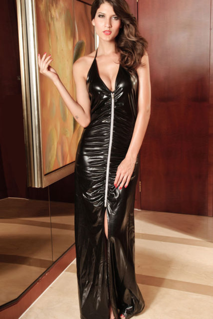 Black Long Wet Look Gown-0