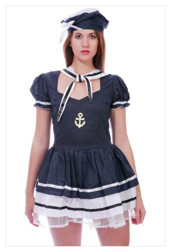 LADIES SAILOR PIRATE NAVY ARMY FANCY DRESS COSTUME OUTFIT PARTY SIZE S M L-847