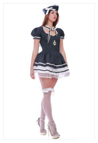 LADIES SAILOR PIRATE NAVY ARMY FANCY DRESS COSTUME OUTFIT PARTY SIZE S M L-843