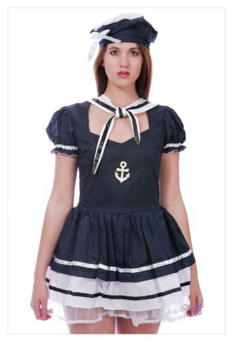 LADIES SAILOR PIRATE NAVY ARMY FANCY DRESS COSTUME OUTFIT PARTY SIZE S M L-848