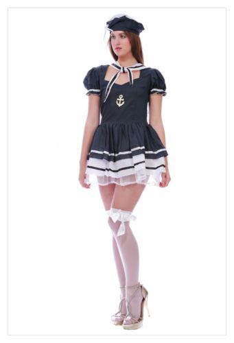 LADIES SAILOR PIRATE NAVY ARMY FANCY DRESS COSTUME OUTFIT PARTY SIZE S M L-845