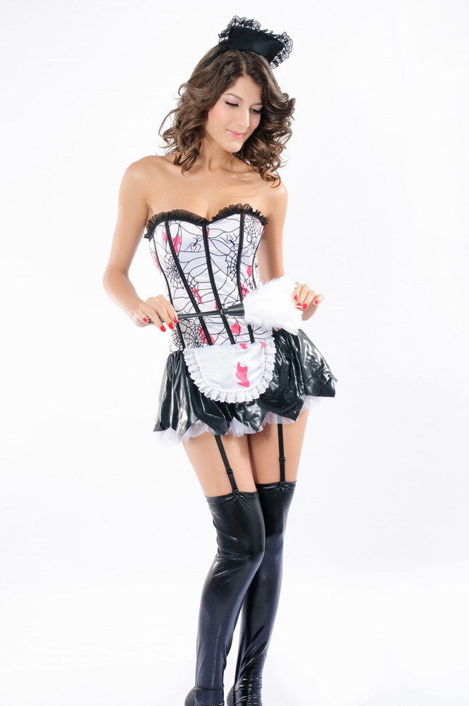 Adult Woman's Sexy Servant Black French Maid Fancy Dress Costume
