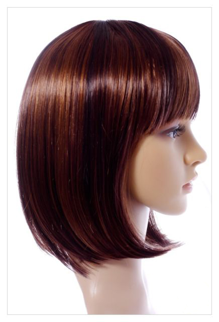 Golden Brown Straight Hair 14 Inch In Length Synthetic Hair Wigs-649