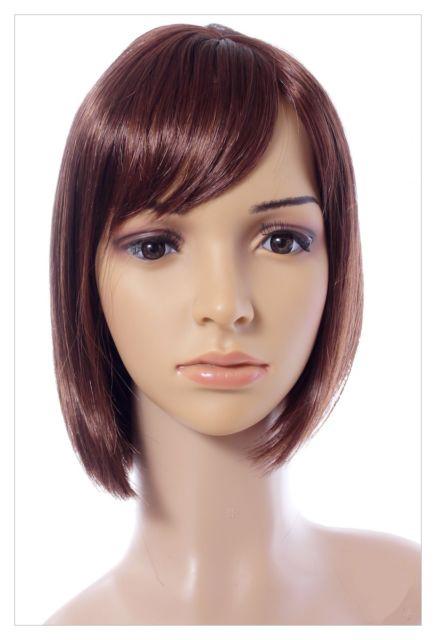 Boycut Style Short Dark Brown Auburn wig