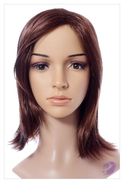 Mahogany Straight Haired Synthetic Wig 16 Inch Lenth