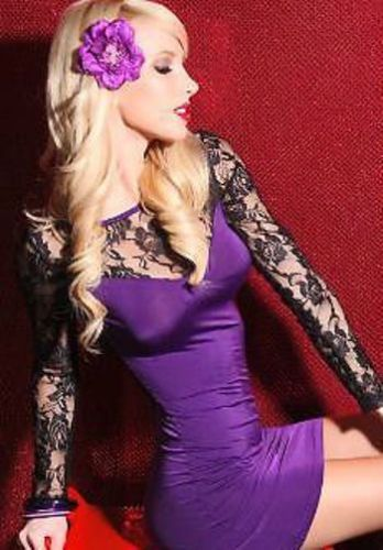 New Sexy Womens Ladies Black Floral Lace Long Sleeve Bodycon Dress Party Dress-0