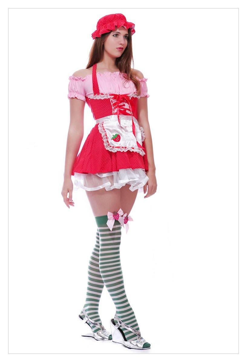 Ladies Strawberry Shortcake Fancy Dress Outfit-0