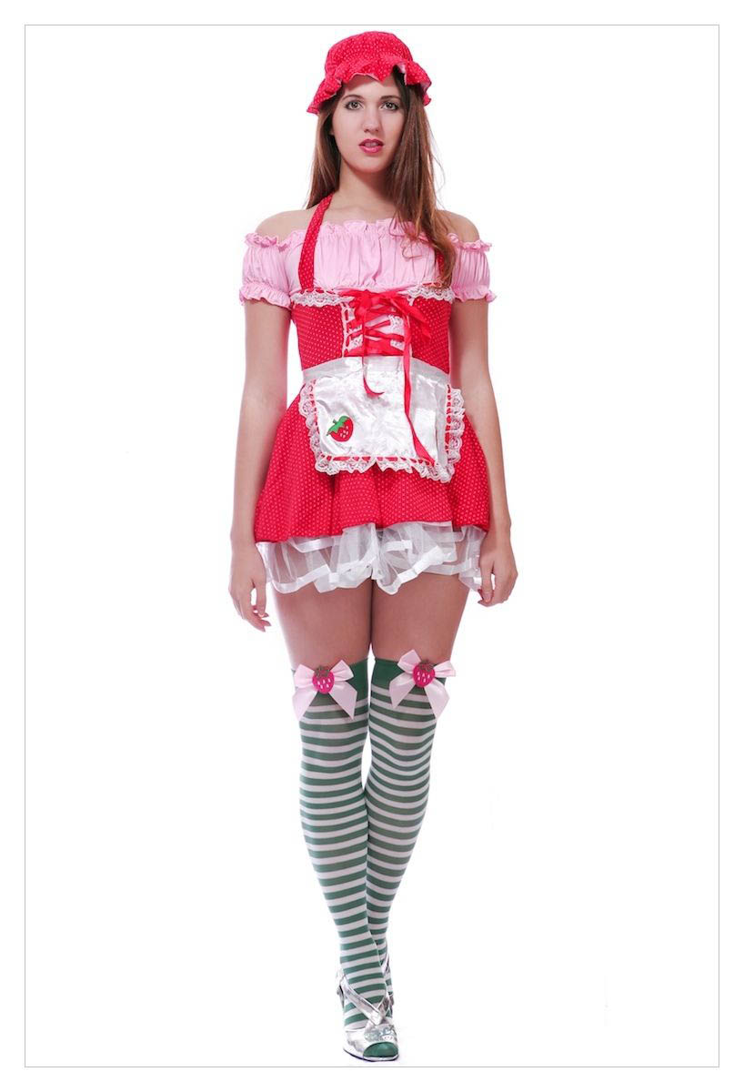 Ladies Strawberry Shortcake Fancy Dress Outfit-1160