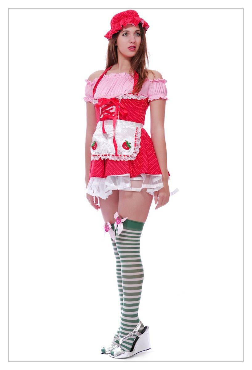 Ladies Strawberry Shortcake Fancy Dress Outfit-1162