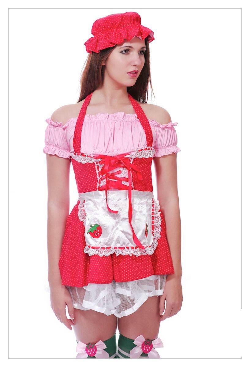 Ladies Strawberry Shortcake Fancy Dress Outfit-1161