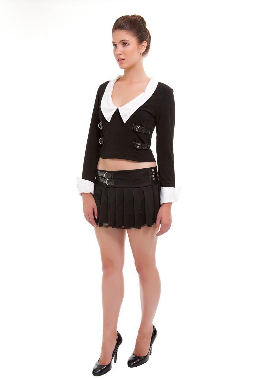 Sexy Highschool School Girl Uniform Fancy Dress Costume-0