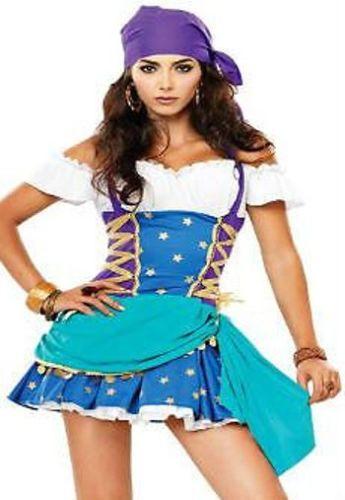 Womens Blue Gypsy Fortune Teller Costume