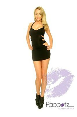 Sexy Ladies Black Dress Cut out Detail Open Back Bodycon Clubwear-0