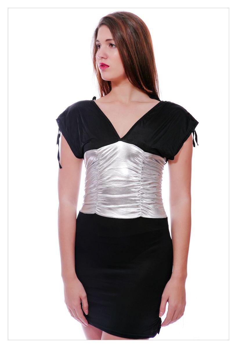 Sexy clubwear deep plunge halterneck mini dress-0