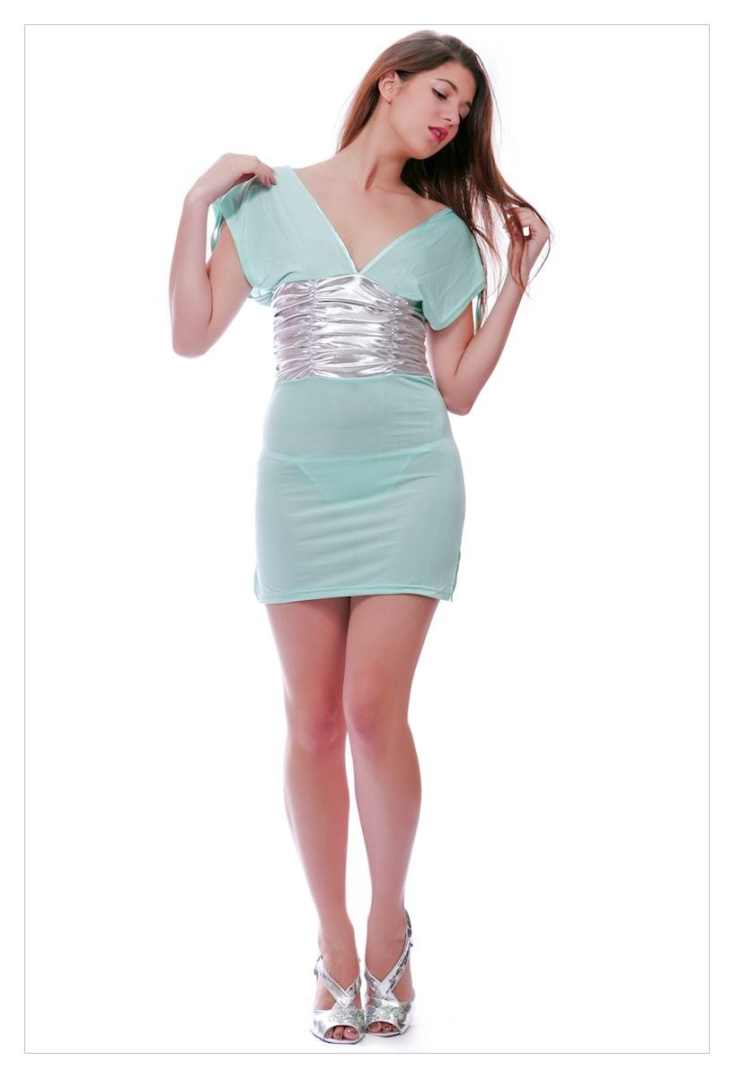 Sexy clubwear deep plunge halterneck mini dress-1748