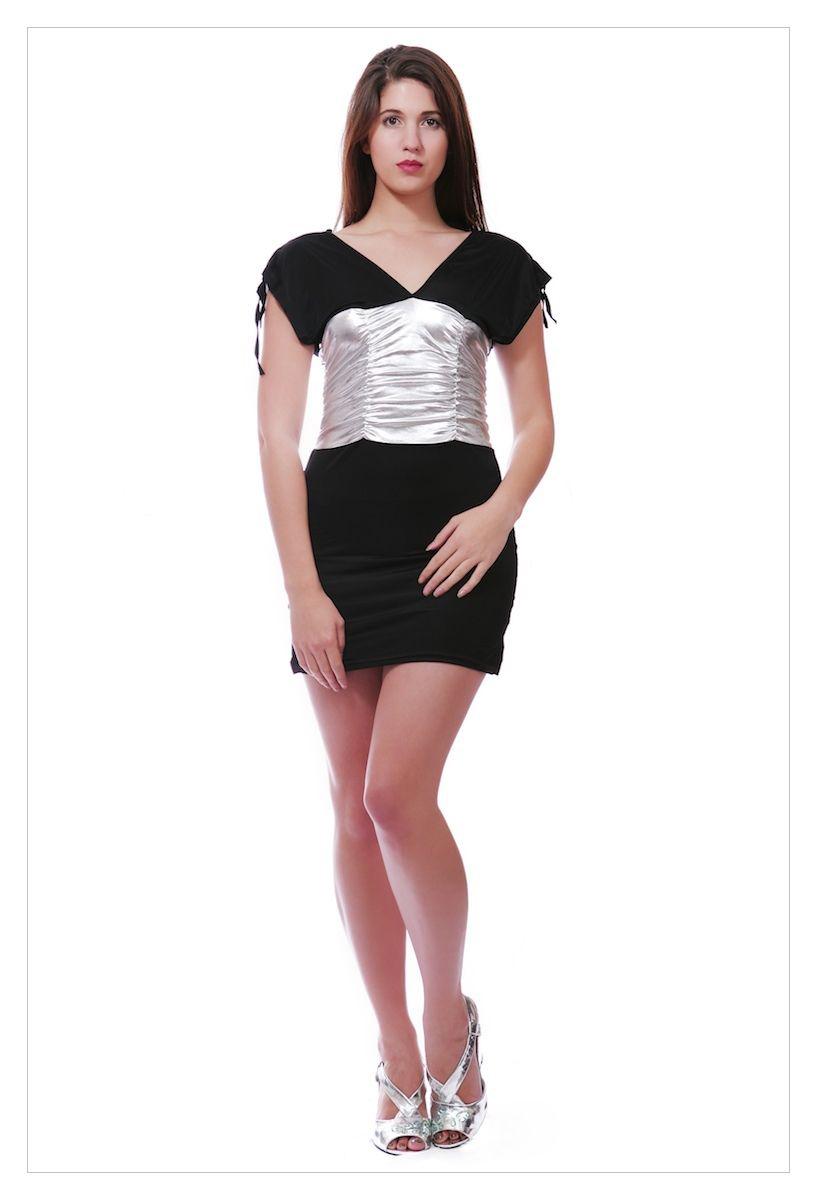 Sexy clubwear deep plunge halterneck mini dress-1749