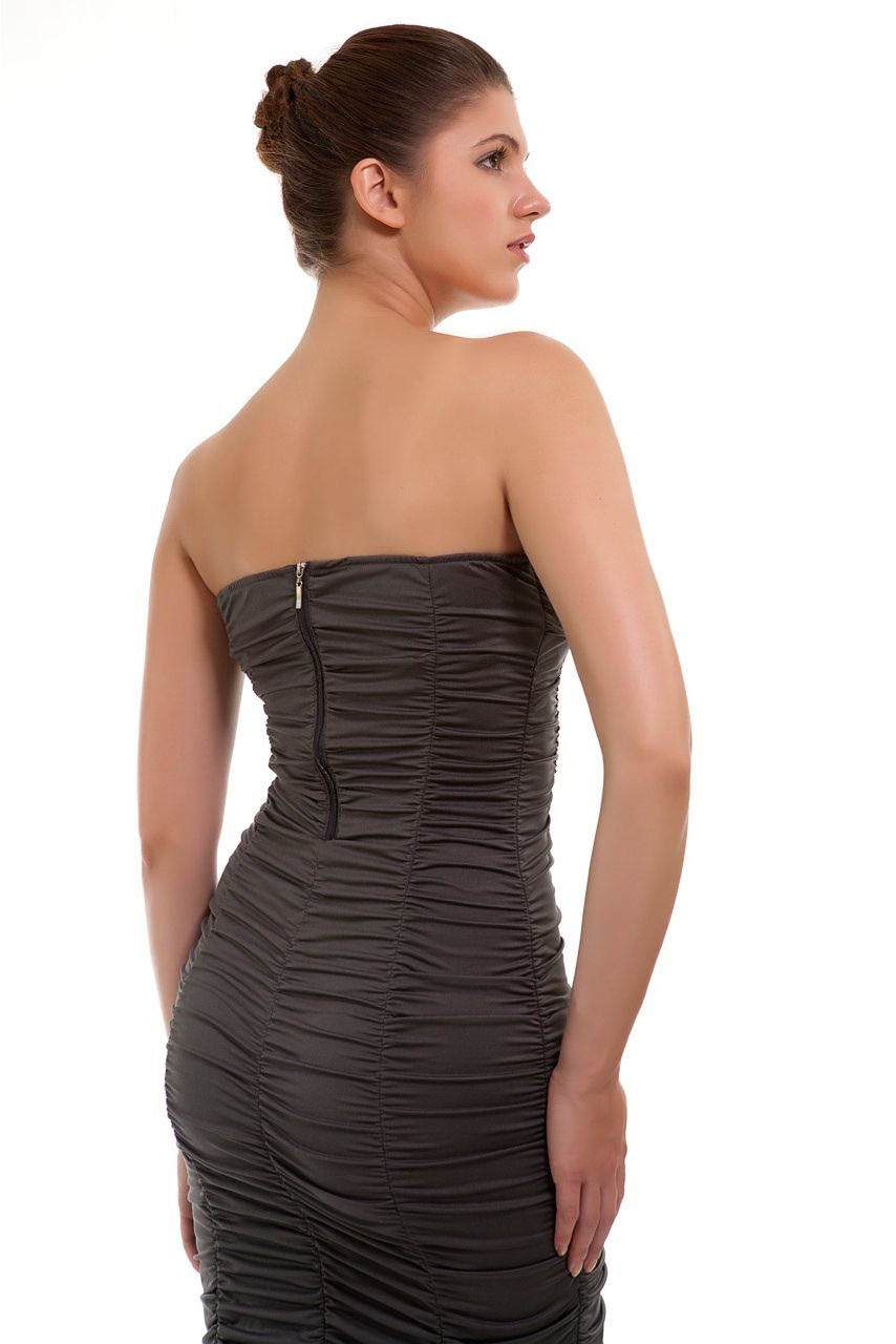 Grey Ruched Bodycon back2