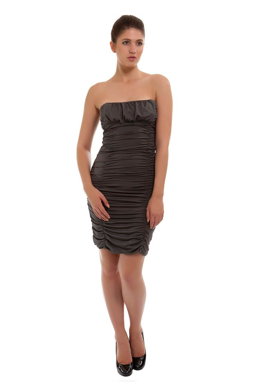 Grey New Season Womans Ruched Bodycon Club Wear Dress