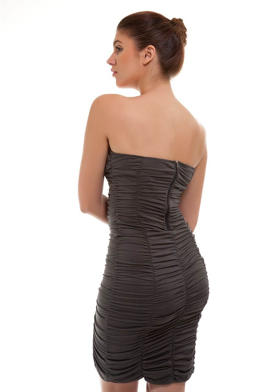 Grey Ruched Bodycon back1