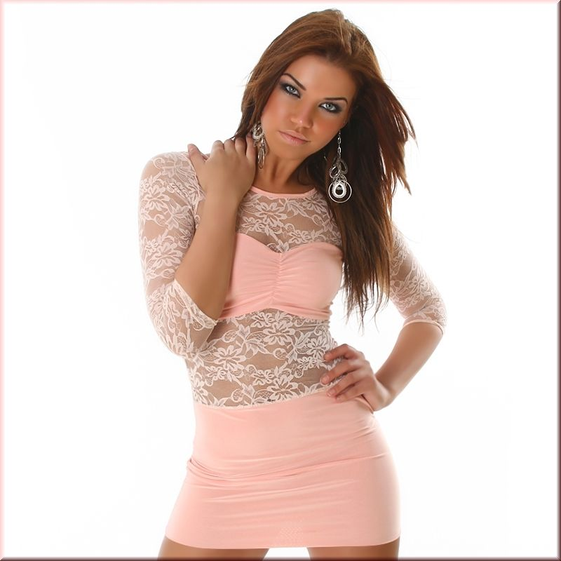 Black Sheer Lace Long Sleeved Clubwear Party Mini Dress