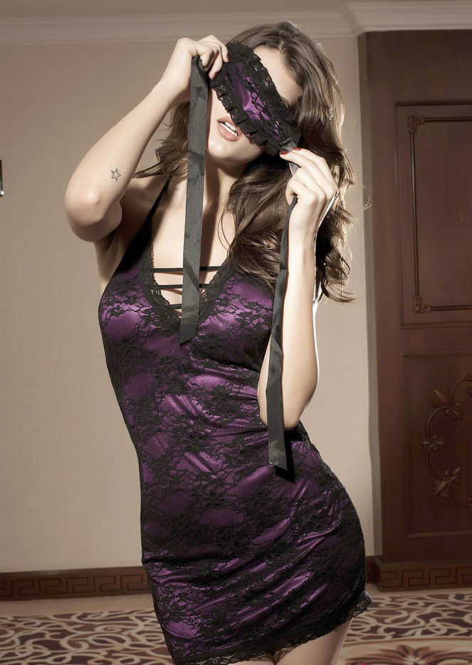 Sexy Lace Halter mini dress chemise Slip-0