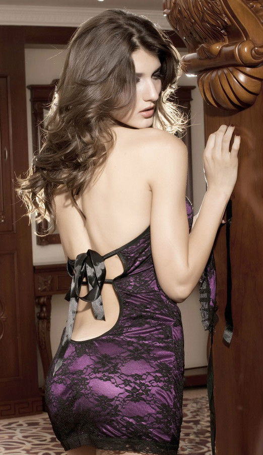 Sexy Lace Halter mini dress chemise Slip-1409