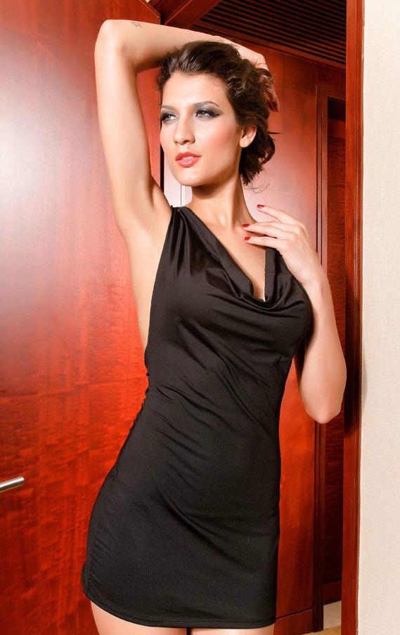Cowl Neck Draping Back Grecian Party Mini Dress-0