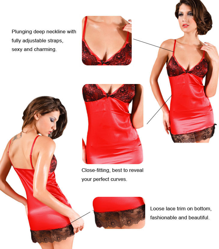 Red Chemises with Classic Lace-1444