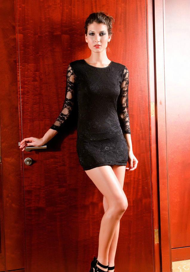 Sexy Stunning Clubbing Bodycon Stretch Lace Mini Dress