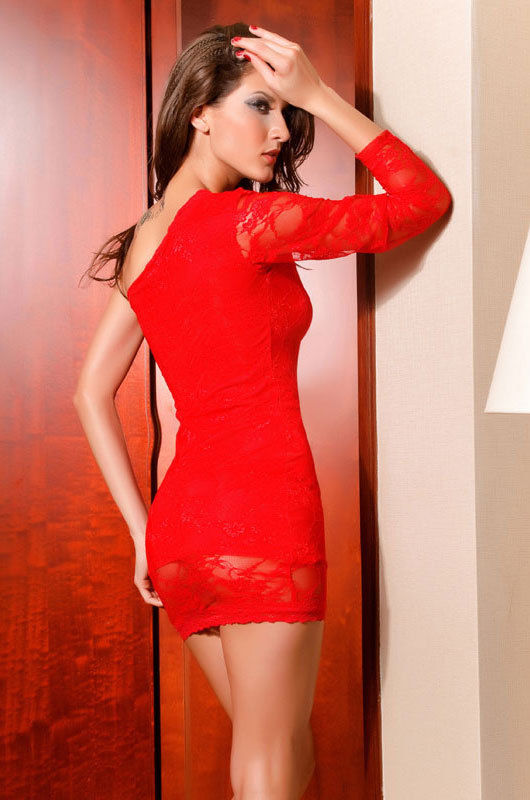 Catch Fashion One Sleeve Mini dress with Lace-1549