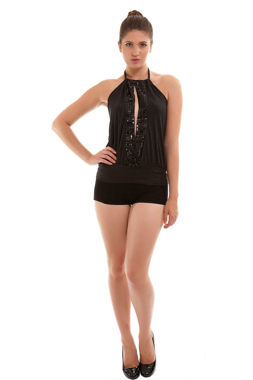 Ladies Sequin Halter Neck Ruched Boob Tube Womens Stretch Sleeveless Top-1828