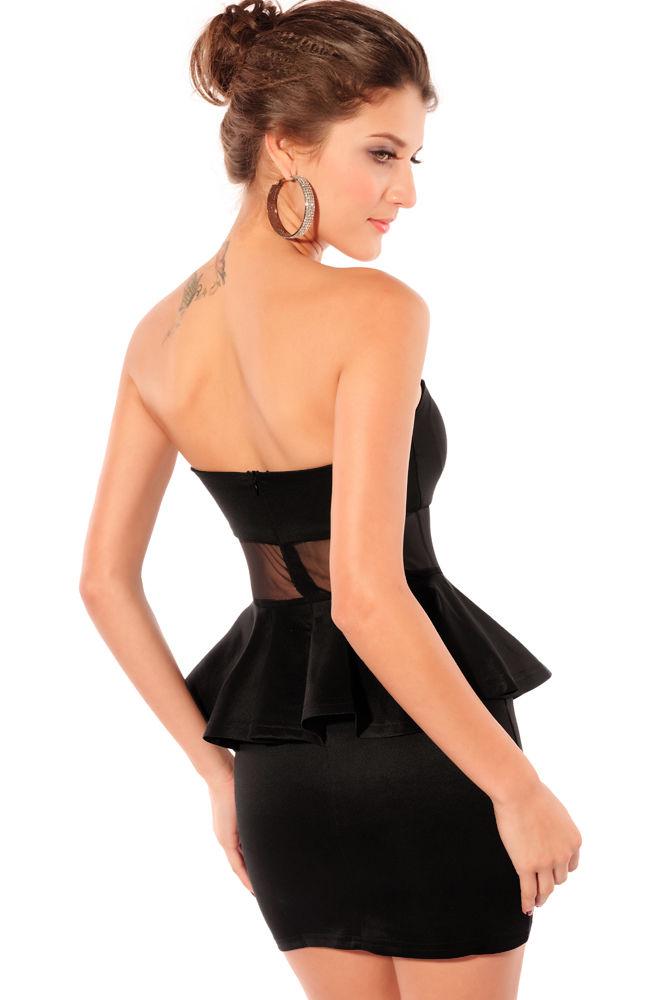 Black Strapless Peplum Dress-1480