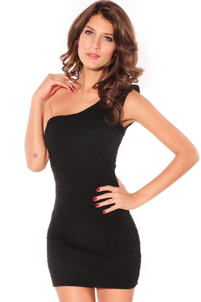 Rose Pattern Single-shoulder Mini Dress Black-0