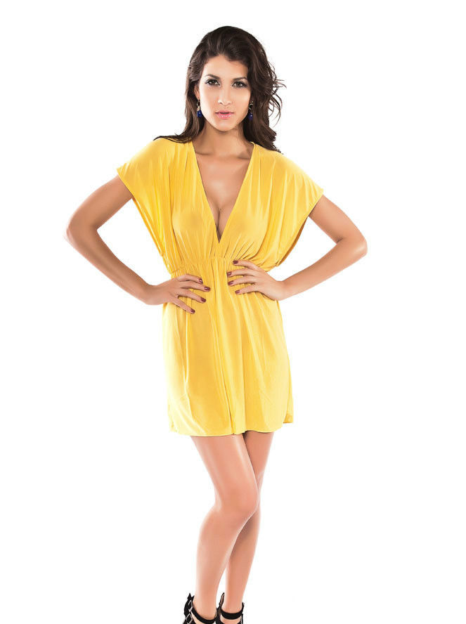 Yellow Classic Beach Cover-up-1597