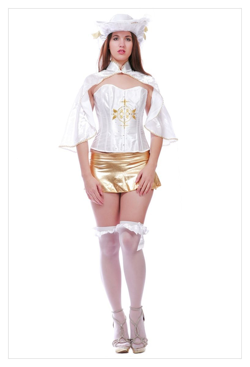 Sexy Musketeer Ladies Fancy Dress Costume Adults Medieval Outfit-1246