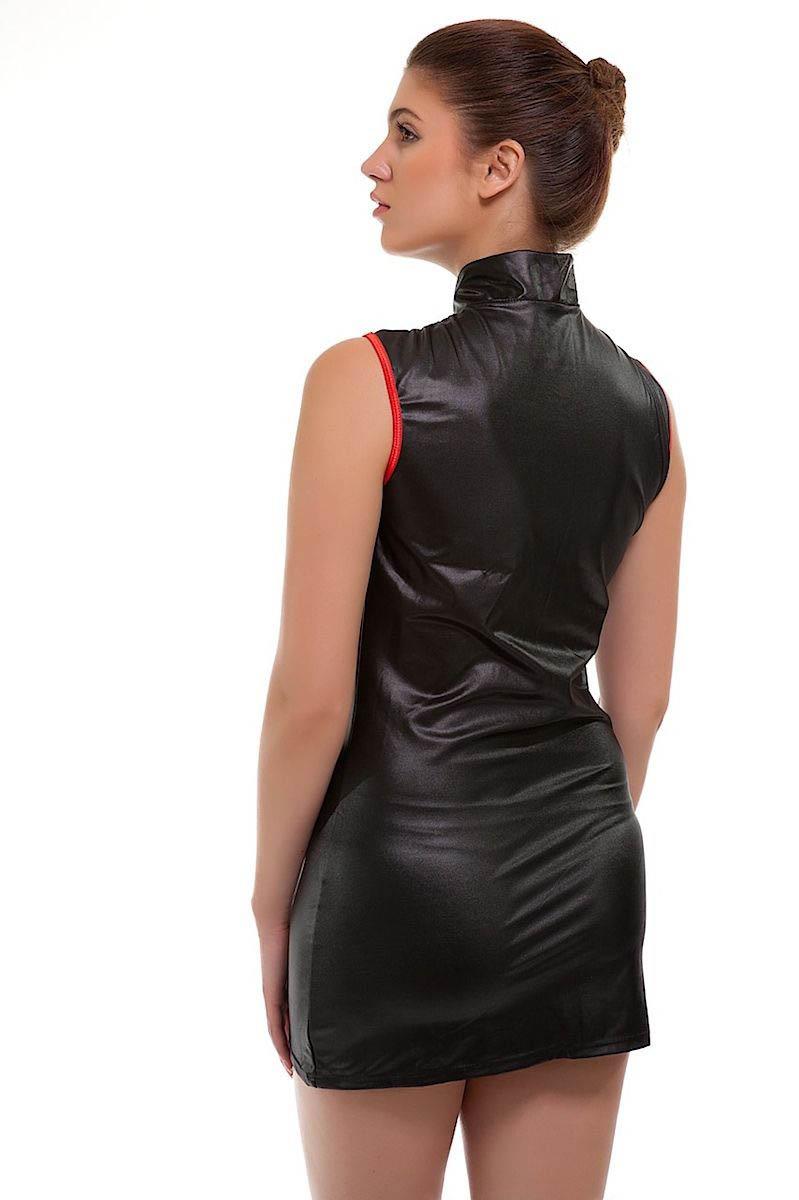 New Black PVC Faux Leather Dress Clubwear Lingerie-1803
