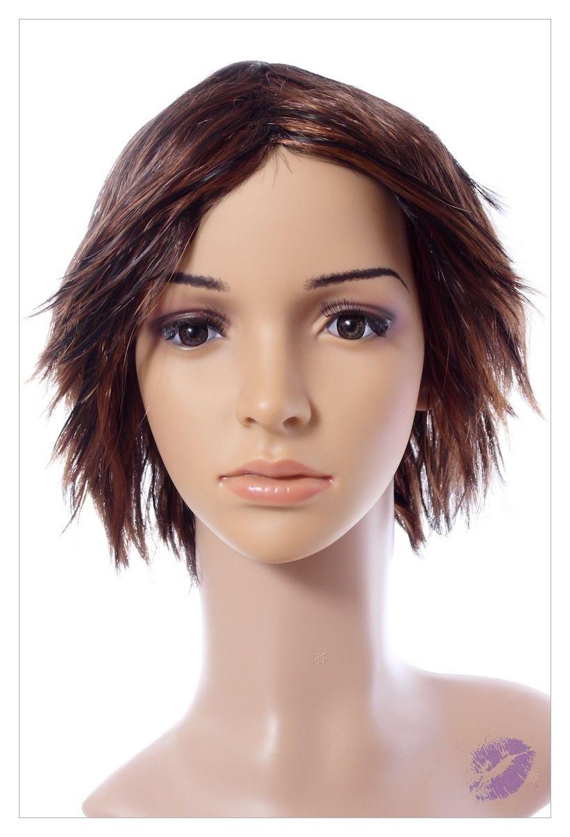 Razor Cut Choc Brown Blonde Faceframe Lady Wig UK-0
