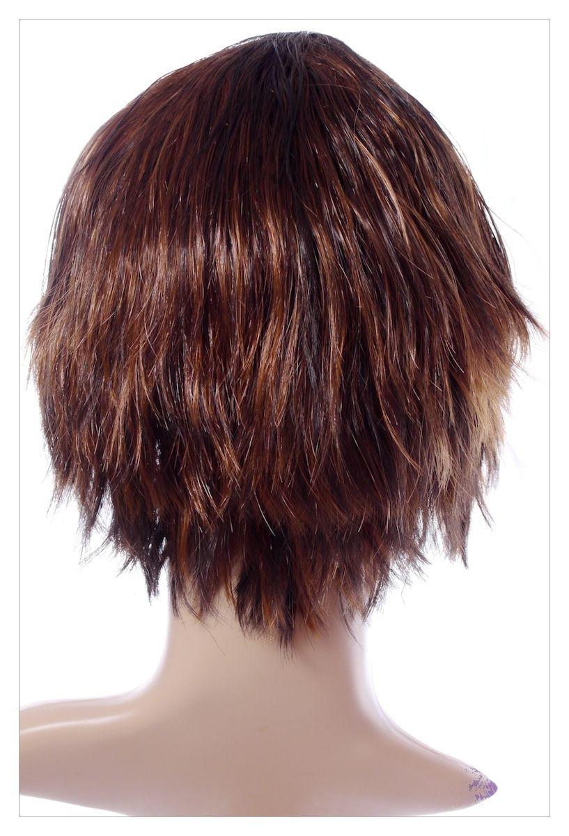 Razor Cut Choc Brown Blonde Faceframe Lady Wig UK-1376